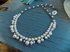 Frills crocheted natural necklace with gemstone and by Sydneyjos