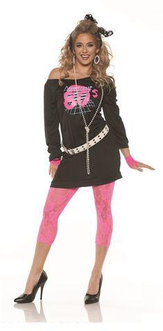 party outfits Look great at your next party in this costume inspired by classic looks from the era. This costume includes a screen print off the shoulder mini-dress that reads 'Awesome pink lace leggings, belt, lace gloves, and a hair bow. 80s Halloween Costumes, 80s Party Costumes, 1980s Costume, Disco Costume, Trendy Halloween, Star Costume, Pirate Costumes, Retro Costume, Group Costumes