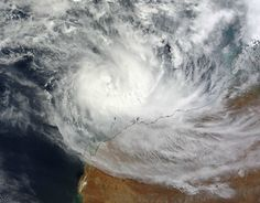 On March 13, 2012 at 0245 UTC, the MODIS instrument on NASA's Terra satellite captured this visible image of Tropical Cyclone Lua (17S) over Western Australia. The highest, strongest thunderstorms appear to be on the southern side of the circulation, as the higher storms are casting shadows on the lower surrounding clouds.