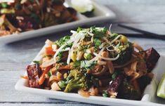 vegan pad thai_hot for food Ranch Dip, The Ranch, Fried Mushrooms, Stuffed Mushrooms, Vegan Pad Thai, Mushroom Dish, Pickle Relish, Coriander, Fried Chicken