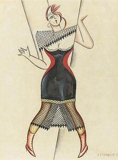 """В. и Г. Стенберги. Эскиз костюма к опере  Джон Гея """"THE BEGGAR'S OPERA"""". 1922.  Бумага, гуашь, пастель, чернила. 38х30 см."""