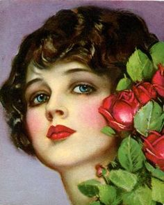 Gorgeous blue-eyed beauty with roses.  Another Earl Christy from the 1920s. - STUNNING!!!