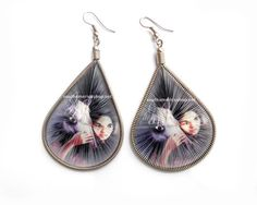 Big Teardrop threaded Earrings with horse by MiraquelAccessories