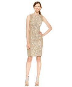 Calvin Klein Scuba Animal-Print Sheath Dress