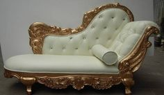 white leather and gold Victorian lounge chair with diamante stud button back