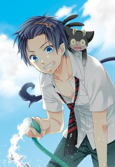 Rin Okumura & Kuro | Ao No Exorcist | I love when he has that clip in his hair