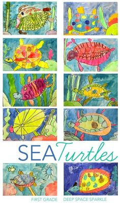 My first graders used oil pastels and cake/puck tempera paints to create these beautiful sea turtles drawing and painting project. Using just tempera paint,
