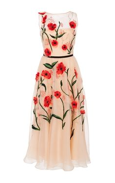 Floral Embroidered Dress by LELA ROSE for Preorder on Moda Operandi