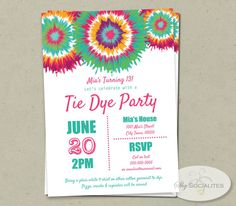 Tie Dye Birthday Party Invitation Printable By Printablesbyslp On