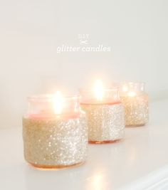 """Peel off the candle's label, brush on the Mod Podge with a small paint brush, and finish by dousing them with glitter. You can add a second layer of Mod Podge to """"seal"""" the glitter Do It Yourself Quotes, Do It Yourself Wedding, Do It Yourself Home, Glitter Candles, Diy Candles, Small Candles, Candle Jars, Cheap Candles, Romantic Candles"""
