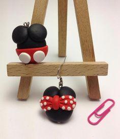Mickey and Minnie Polymer Clay Handmade Earrings.