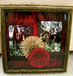 Shadow box w/scrapbook paper, pictures, fabric trim & silk flowers