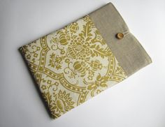 Linen damask MacBook sleeve 13 with pockets MacBook by LinenSleeve, $25.00