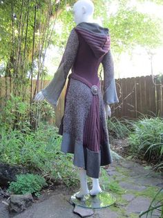 Recycled Sweater Coat 77 ... Sage & Cranberry by ipseity on Etsy