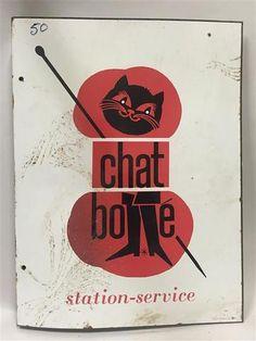 """Plaque émaillée publicitaire potence double-face """"Chat Botté Station-service"""","""