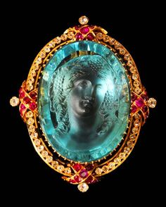Aquamarine Cameo and ruby and diamond Brooch/Pendant, ca. 1860. https://musetouch.org/?cat=29