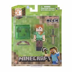 Core Steve with Accessory. From the hit video game, Minecraft, bring home the inches tall Steve action figure pack! Collect all Series Minecraft action Steve Minecraft, Minecraft Videos, Minecraft Party, Minecraft Toys, Minecraft Stuff, Minecraft Blocks, Figurines D'action, The Animals, Disney Pixar