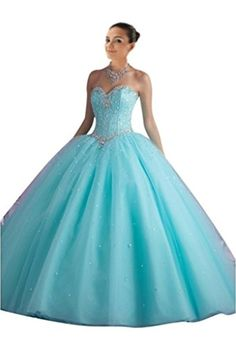 Mollybridal Tulle Corset Sweetheart Ball Gown Quinceanera Prom Dresses Aqua 20 - Brought to you by Avarsha.com