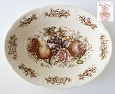 Vintage Brown Transferware Polychrome Harvest Fruit Oval Vegetable Bowl Windsor Ware - Beautiful Fruits and Autumn Details