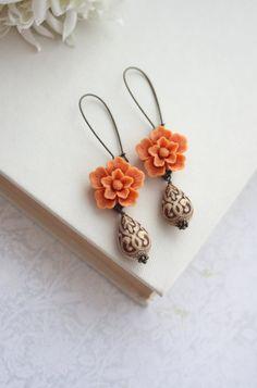 Orange Sakura Flower, Brown and Ivory Ornate Beads Earrings. Maid of Honor. Bridesmaid Gifts. Brown and Orange. Birthday Gift. Fall Vintage