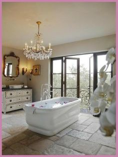 This is my dream bathroom! I love the french doors!