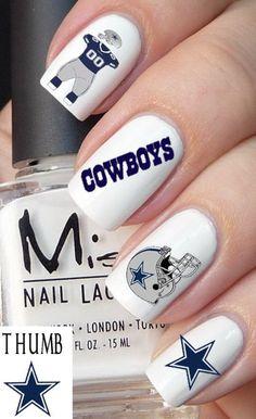 Dallas Cowboys nail decal set by DesignerNails Dallas Cowboys Nail Designs, Dallas Cowboys Nails, Football Nails, Dallas Cowboys Pictures, Dallas Cowboys Football, Volleyball Nails, Football Themes, Nfl Dallas, Baseball