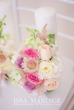 Bridal bouquet with white and purple roses. Creek Club at I'On wedding photographed by Charleston wedding photographer Studio Adele. Polka Dot Wedding, Purple Wedding, Rustic Table Numbers, Colorful Centerpieces, Bridesmaid Luncheon, Rustic Cake Toppers, Purple Roses, Pink, Pretty Flowers