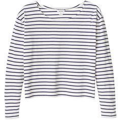 Monki Nese top (€10) ❤ liked on Polyvore featuring tops, shirts, long sleeves, sweaters, sleek stripes, striped long sleeve top, breton top, long-sleeve shirt, breton striped shirt and striped shirt