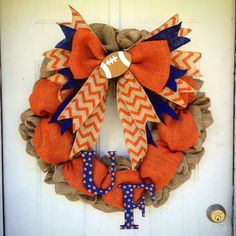 Florida Gators wreath Burlap wreath Orange and Blue by 365Holidays