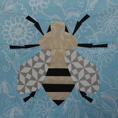Spring Bee Quilt Block - Free PDF Paper Piecing Pattern from Modern Quilting paper pieced Paper Pieced Quilt Patterns, Quilt Block Patterns, Pattern Blocks, Quilt Blocks, Sew Pattern, Quilting Projects, Quilting Designs, Patch Aplique, Animal Quilts