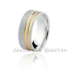 Aliança de prata Daniela, par com 10 gramas, detalhe em ouro amarelo.  #aliança de namoro, #compromisso, #prata