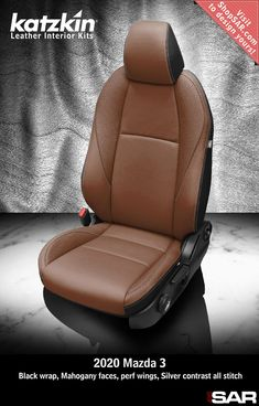 - This is a 2020 Mazda 3 seat with Black wrap, Mahogany faces, perf wings, Silver contrast all stitch. Leather Kits, Custom Leather, Real Leather, Automotive Upholstery, Car Upholstery, Mazda 3 Black, Camo Gear, Leather Seat Covers, Toyota Fj Cruiser
