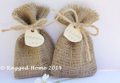 10 x Burlap Hessian Wedding Favour Bags and White Clay Heart 'Thank You' Charms - 3 sizes on Etsy, $21.25 AUD