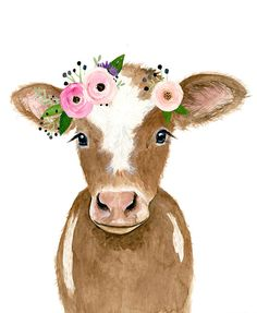 Flower crowned brown calf baby farm animals cow painting