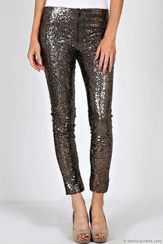 3c3122145da2a ENDS SOON - Metallic Sequin Leggings Pants-Gold   Black