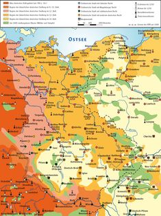 The medieval eastward migration and settlement of Germans from modern day western and central Germany into less-populated regions and countries of eastern Central Europe and Eastern Europe. Ap World History, European History, Family History, European Travel, Walt Disney World, Alternate History, Old Maps, Historical Maps, Central Europe