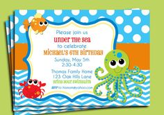 Under the Sea Printable Invitation - Fish, Ocean, Beach, Sea Birthday or Baby Shower via Etsy I think this is probably one of my faves....it's a little boyish for me but I think this one is way cute!