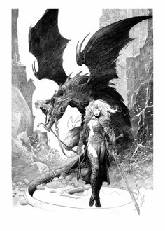 Alberto Varanda signed art print numbered out of titled : Dragon on a heavyweight vellum ragpaper 50 x 70 cm. We also propose for sale a large choice of original works of Art and reproductions by contemporary artists Fantasy Anime, High Fantasy, Sword And Sorcery, Fantasy Inspiration, Dragon Art, Pulp Art, Fantasy Artwork, Horror Art, Comic Artist