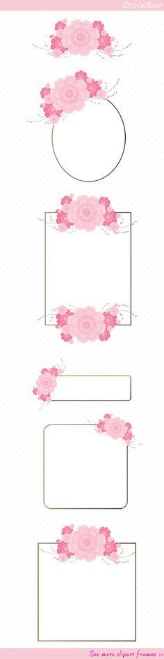 Flower Frame Clip Art, Cherry Blossom Digital Clipart, Digital Download, Clipart…