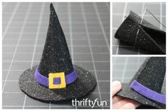 This is a guide about making a mini felt witch hat. This cute little witch hat can be used as part of a variety of Halloween decorations. Diy Halloween Door Decorations, Halloween Ornaments, Halloween Crafts, Halloween Ideas, Holiday Crafts, Halloween Favors, Halloween Witches, Halloween 2020, Halloween Halloween