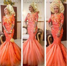 Orange Lace Mermaid dress with Tulle bottom