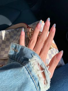 and denim jacket -Nails and denim jacket - Top 50 Gel Nails 2019 To Try Them beautiful acrylic short square nails design for french manicure nails 16 ~ my.easy- Image of Amellie pinky signet ring Alongamento de Unhas: Técnicas, Duração e Cuidados! Almond Acrylic Nails, Cute Acrylic Nails, Long Almond Nails, Almond Nail Art, Holographic Nails Acrylic, Acrylic Nail Designs Coffin, White Almond Nails, Colored Acrylic Nails, Pastel Nails
