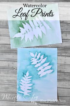 Make these beautiful diy watercolor leaf prints in just a few minutes. It's a perfect beginner's watercolor art craft project with tutorial! Fall Crafts For Kids, Projects For Kids, Art For Kids, Kids Diy, Leaf Crafts Kids, Leaf Projects, Arts And Crafts Projects, Art Crafts, Watercolor Leaves