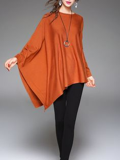 Plus Size Asymmetrical Batwing Plain Long Sleeved Top Look Fashion, Unique Fashion, Womens Fashion, Blouse Styles, Blouse Designs, Looks Plus Size, Looks Chic, Fashion Sewing, Hippie Style