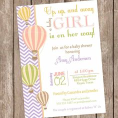 Chevron Hot Air Balloon Baby Shower Invitation, up up and away, chevron baby shower invitation, coral, green, orange, printable, by ModernBeautiful on Etsy https://www.etsy.com/listing/172044395/chevron-hot-air-balloon-baby-shower
