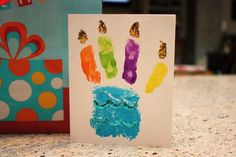 Kid hand print birthday card - cake with candles