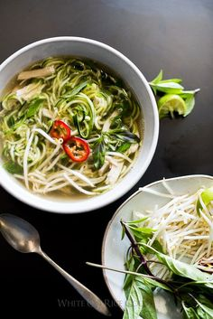 Chicken Pho Noodle Soup Recipe with Zucchini Noodles! Light, healthy and comforting. | /whiteonrice/