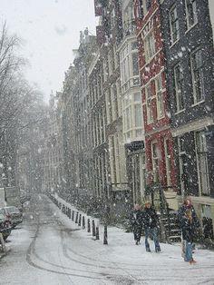 Snowy day in Amsterdam, Netherlands