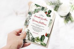 Brunch Invitations, Baby Shower Invitations, Winter Shower, Christmas Wedding Invitations, Cookie Exchange Party, Christmas Greenery, Custom Tags, Holly Berries, Holly Leaf