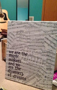 Canvas, old sheet music, mod podge, stencils, and a sharpie. Done best while listening to music and sipping tea.